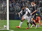 Juventus' forward from Spain Alvaro Morata scores during the UEFA Champions League semi-final first leg football match Juventus vs Real Madrid on May 5, 2015