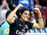 Paris Saint-Germain's Uruguyan forward Edinson Cavani celebrates after scoring a goal during the French L1 football match between Paris Saint-Germain and Guingamp on May 8, 2015