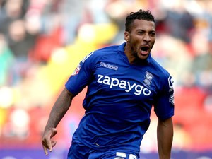 Birmingham City midfielder David Davis celebrates scoring against Charlton Athletic in a Championship match at The Valley on October 4, 2014
