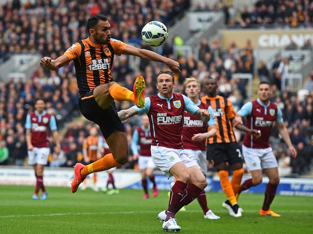 Ahmed Elmohamady of Hull City controls the ball during the Barclays Premier League match between Hull City and Burnley at KC Stadium on May 9, 2015