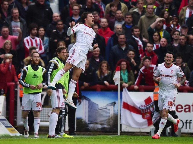 Jelle Vossen of Middlesbrough celebrates as he scores their first goal during the Sky Bet Championship Playoff semi-final first leg match between Brentford and Middlesbrough at Griffin Park on May 8, 2015