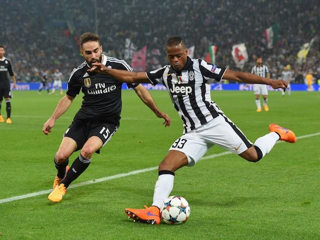 Patrice Evra of Juventus takes on Daniel Carvajal of Real ...