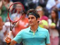 Roger Federer of Switzerland celebrates after winning his match against Tomas Berdych of Czech Republic on Day Six of the The Internazionali BNL d'Italia 2015 at Foro Italico on May 15, 2015