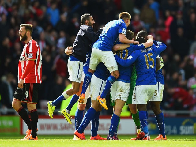 Leicester City players celebrate avoiding relegation during the Barclays Premier League match between Sunderland and Leicester City at Stadium of Light on May 16, 2015