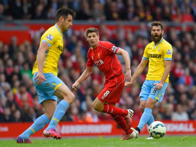 Steven Gerrard of Liverpool passes the ball during the Barclays Premier League match between Liverpool and Crystal Palace at Anfield on May 16, 2015
