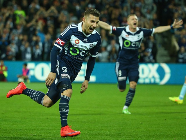 Kosta Barbarouses of the Victory celebrates after scoring a goal during the 2015 A-League Grand Final match between the Melbourne Victory and Sydney FC at AAMI Park on May 17, 2015