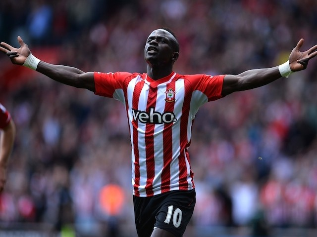 Southampton's Sadio Mane celebrates one of his three goals against Aston Villa on May 16, 2015