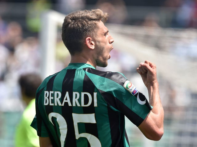Domenico Berardi of Sassuolo celebrates after scoring the goal 2-0 during the Serie A match between US Sassuolo Calcio and AC Milan on May 17, 2015