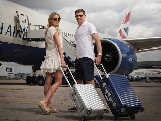 Steven and Alex Gerrard pose for a picture on a BA777 aircraft to launch British Airways Caribbean Campaign on May 11, 2015