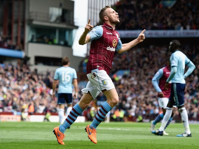 Tom Cleverley celebrates scoring for Aston Villa on May 9, 2015