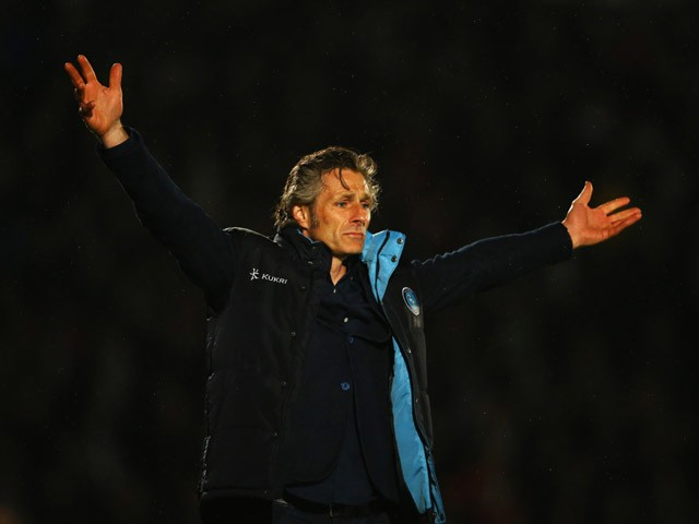 Gareth Ainsworth manager of Wycombe Wanderers reacts during the Sky Bet League Two Playoff semi final match between Wycombe Wanderers and Plymouth Argyle at Adams Park on May 14, 2015