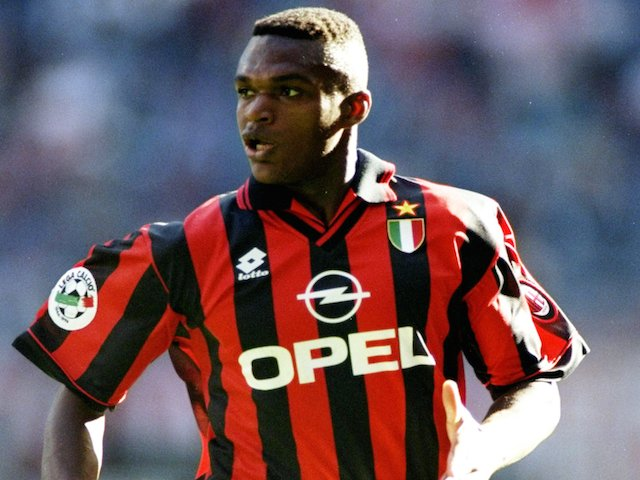 Marcel Desailly of AC Milan in action during a Series A match against Verona on September 2, 1996