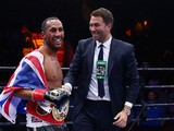 James DeGale celebrates his win over Andre Dirrell after their super middleweight fight at Agganis Arena at Boston University on May 23, 2015