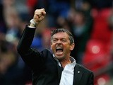 Phil Brown, manager of Southend United celebrates a late equaliser goal in extra-time during the Sky Bet League Two Playoff Final between Southend United and Wycombe Wanderers at Wembley Stadium on May 23, 2015