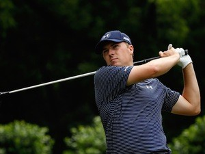 Jordan Spieth in action during the final round of Crowne Plaza Invitational on May 24, 2015