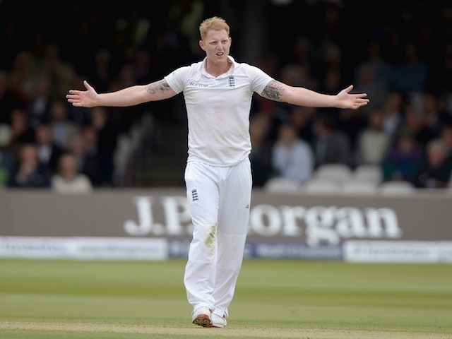 Ben Stokes appeals during day two of England's First Test with New Zealand on May 22, 2015