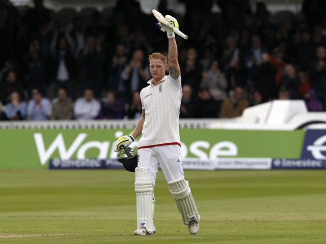 Englands Ben Stokes celebrates reaching his century during play on the fourth day of the first cricket Test match between England and New Zealand at Lord's cricket ground in London on May 24, 2015