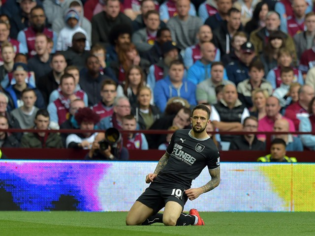 Danny Ings of Burnley celebrates after he scores with a header during the Barclays Premier League match between Aston Villa and Burnley at Villa Park on May 24, 2015