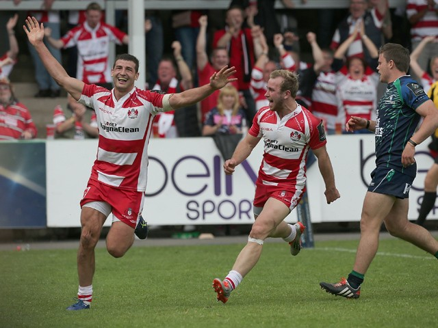 Gloucester's Jonny May celebrates scoring a try during the Gloucester Rugby v Connacht Rugby European Champions Cup Play-Off at Kingsholm Stadium on May 24, 2015