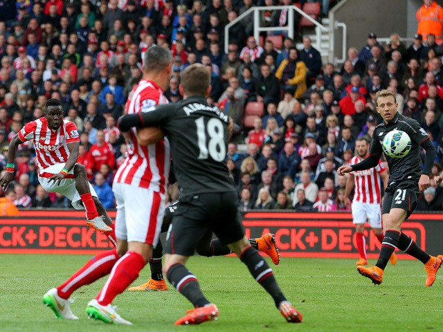Mame Biram Diouf of Stoke City scores a goal during the Barclays Premier League match between Stoke City and Liverpool at Britannia Stadium on May 24, 2015