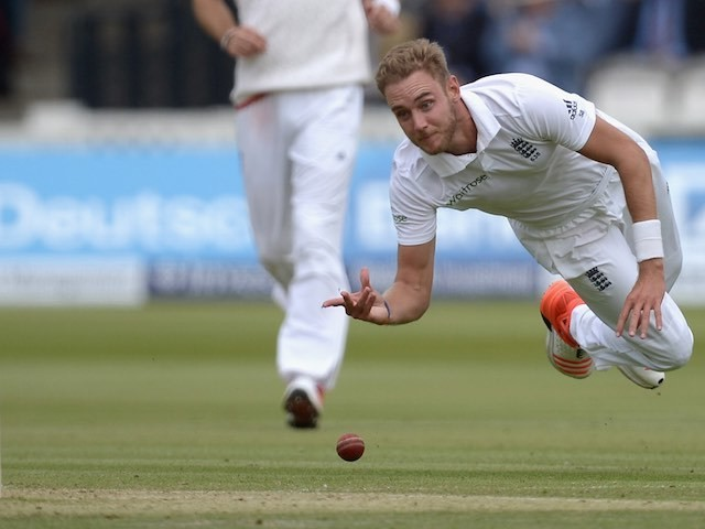 England's Stuart Broad in action on the second day of the First Test with New Zealand on May 22, 2015