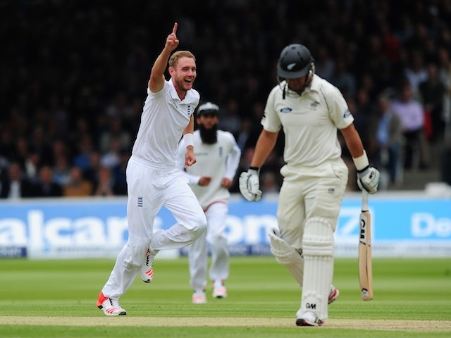 Stuart Broad celebrates taking the wicket of Ross Taylor on day three of the First Test between England and New Zealand on May 23, 2015