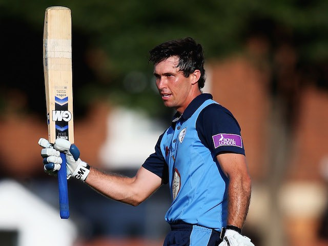 Wayne Madsen of Derbyshire celebrates his century during the Royal London One Day Cup match between Leicestershire Foxes and Derbyshire Falcons at Grace Road on July 27, 2014
