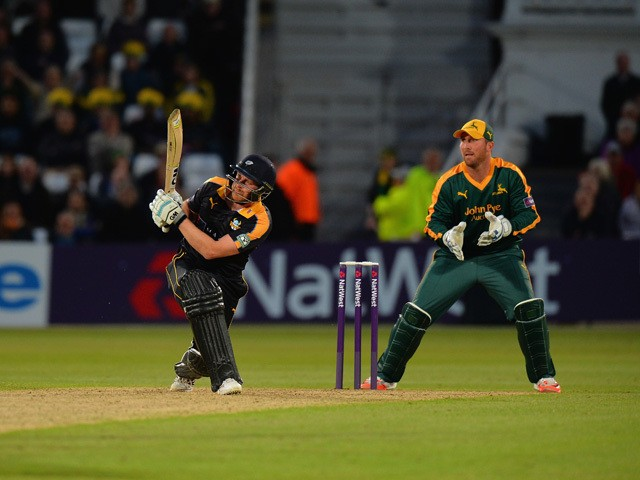Andrew Gale of Yorkshire Vikings hits the winning runs during the NatWest T20 Blast between Nottingham Outlaws and Yorkshire Vikings at Trent Bridge on May 22, 2015