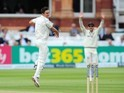 New Zealand's Trent Boult celebrates taking the wicket of England captain Alastair Cook on day five of the First Test on May 25, 2015
