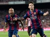 Barcelona's Argentinian forward Lionel Messi celebrates his goal past Barcelo