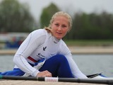 Lani Belcher of Great Britain prepares for training at Eton Dorney on May 2, 2012