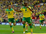 Norwich City's English striker Cameron Jerome celebrates scoring the opening goal during the English Championship play off final football match between Middlesbrough and Norwich City at Wembley Stadium in London on May 25, 2015