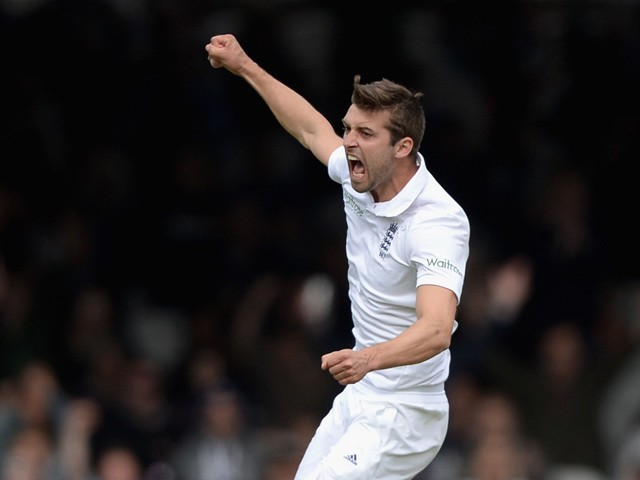 Mark Wood of England celebrates dismissing BJ Watling of New Zealand during day five of 1st Investec Test match between England and New Zealand at Lord's Cricket Ground on May 25, 2015