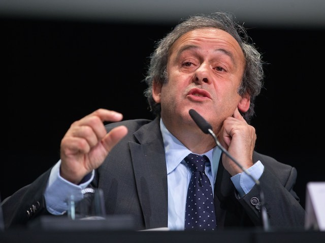 UEFA president Michel Platini talks about Sepp Blatter during a press conference on May 29, 2015