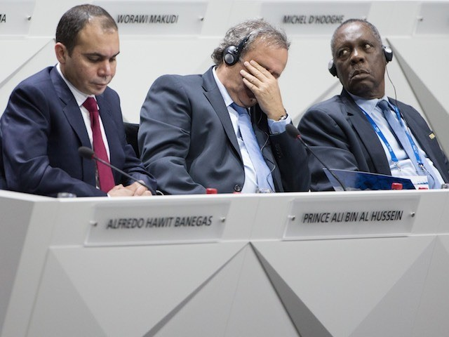 Michel Platini is not impressed with what he hears during the FIFA Congress on May 29, 2015