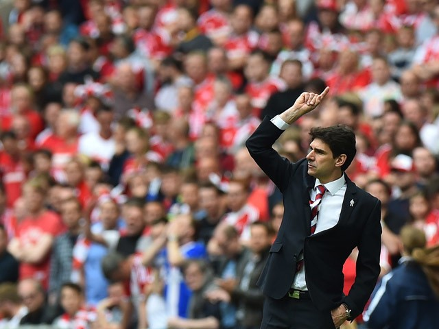 Middlesbrough's Spanish manager Aitor Karanka gestures from the touchline during the English Championship play off final football match between Middlesbrough and Norwich City at Wembley Stadium in London on May 25, 2015