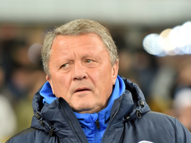 Dnipro Dnipropetrovsk manager Myron Markevych looks on during his side's clash with Olympiacos in the Europa League on February 19, 2015