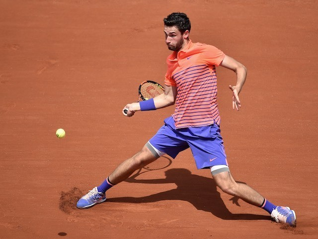 Quentin Halys in action against Rafa Nadal on day three of the French Open on May 26, 2015
