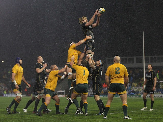 Richie Gray of Scotland takes a lineout ball during the International Test match between the Australian Wallabies and Scotland at Hunter Stadium on June 5, 2012