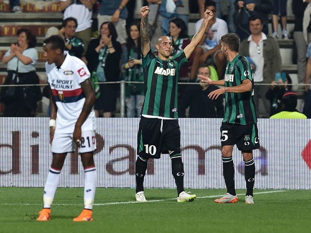 Simone Zaza of Sassuolo celebrates after scoring the goal 3-0 during the Serie A match between US Sassuolo Calcio and Genoa CFC at Mapei Stadium on May 31, 2015