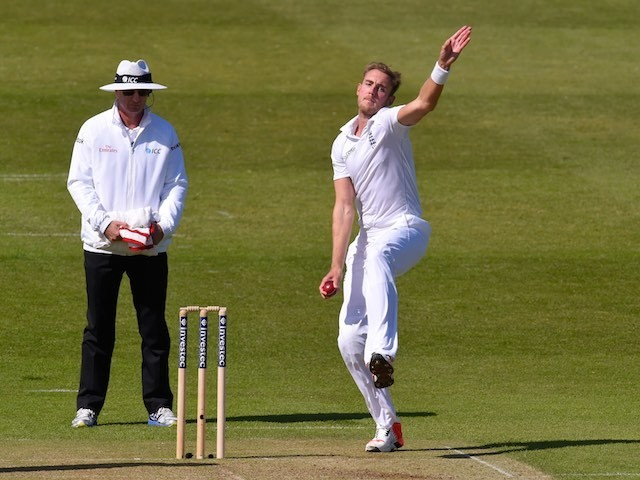 England's Stuart Broad bowls on day one of the Second Test with New Zealand on May 29, 2015