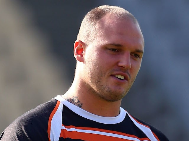 Cory Paterson catches the ball during a Wests Tigers NRL training session at Concord Oval on April 3, 2014