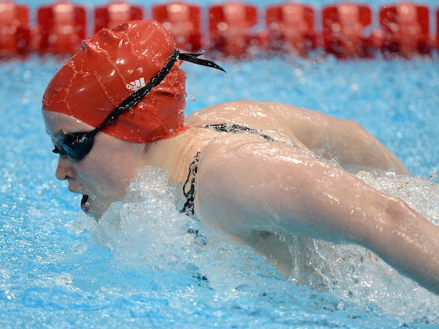 Gemma Almond of Great Britain competes in the Women's 100m Butterfly S10 heats on day 3 of the London 2012 Paralympic Games at Aquatics Centre on September 1, 2012