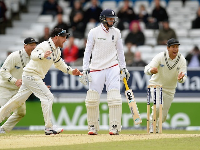 England's Joe Root is unhappy at being bowled out during day five of the Second Test with New Zealand on June 2, 2015