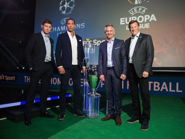 Steven Gerrard, Rio Ferdinand, Gary Lineker and Glenn Hoddle at the launch of BT Sport's European football coverage in London on June 9, 2015