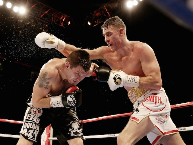 Callum Smith in action with Nikola Sjekloca during their WBC International Super Middleweight Championship at Liverpool Echo Arena on November 22, 2014