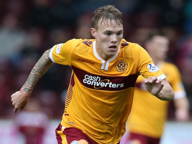 Lee Erwin of Motherwell controls the ball during the Scottish Premiership League Match between Motherwell and Inverness Caledonian Thistle at Fir Park on August 16, 2014