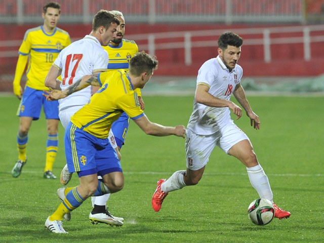 Milos Jojic of Serbia controls the ball during the Under-21 friendly football match between Serbia and Sweden on March 27, 2015