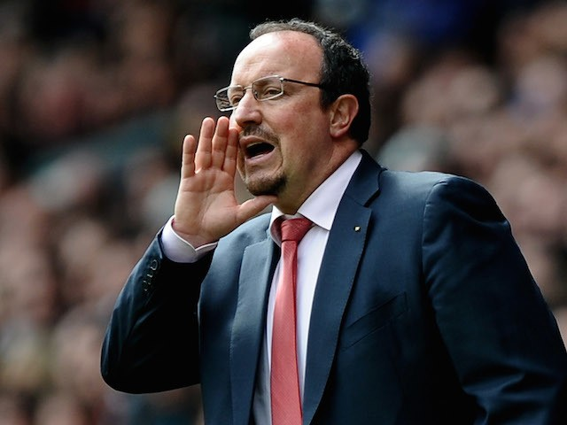 Rafael Benitez the Liverpool manager shouts instructions to his players during the Barclays Premier League match between Liverpool and Chelsea at Anfield on May 2, 2010