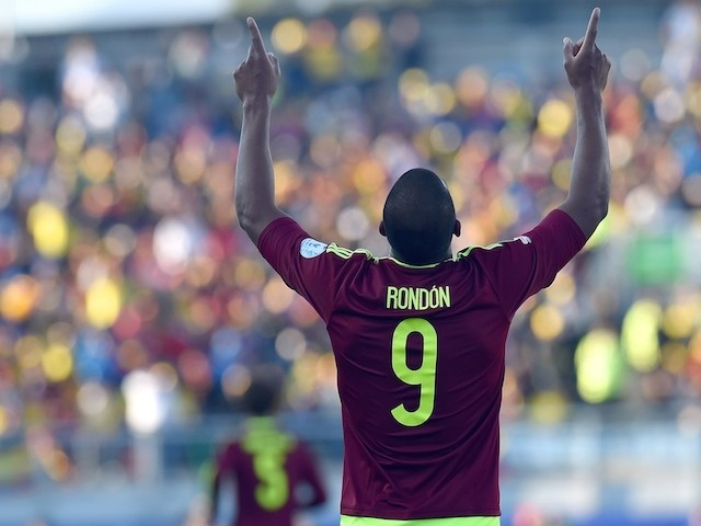 Venezuela's forward Salomon Rondon celebrates after scoring against Colombia during their 2015 Copa America football championship match, in Rancagua, Chile, on June 14, 2015